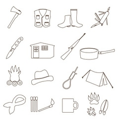 Black backwoodsman simple outline icon set eps10 vector