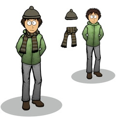 Boy in a winter jacket cartoon vector image