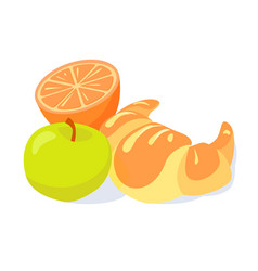 brakfast croissant green apple vector image