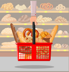 bread products in shopping basket in hand vector image