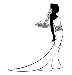 Bride wedding dress silhouette vector