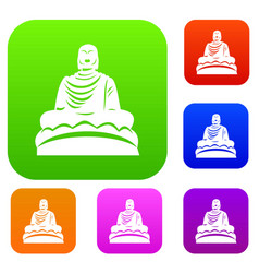 Buddha statue set collection vector