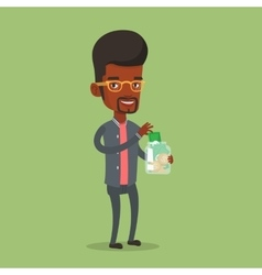 Businessman putting dollar money into money jar vector image