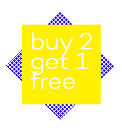 Buy 2 get 1 free stamp on white background vector