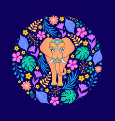 card with elephant and flowers vector image
