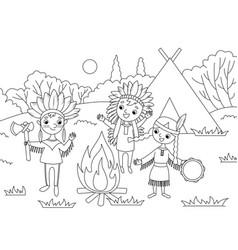 cartoon children coloring vector image vector image
