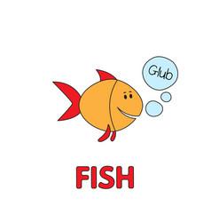 cartoon fish flashcard for children vector image