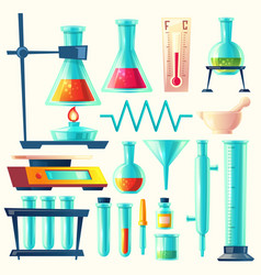 Cartoon laboratory equipment glassware set vector