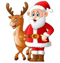 Cartoon santa and deer posing vector