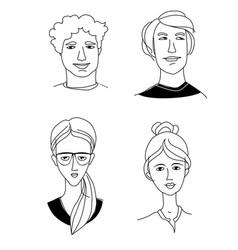 caucasian womens mens head portraits mono-ethnic vector image