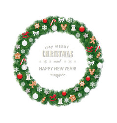 christmas wreath round frame decorated with vector image