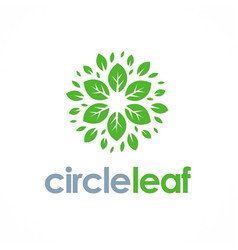 Circle leaf flower logo vector