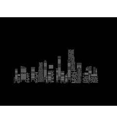 cities silhouette on black background vector image