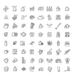 coffee and tea icons set thin line design vector image