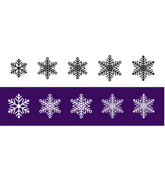 Collections different silhouette snowflakes vector