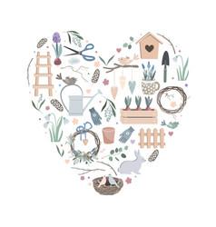 colorful heart made cute funny garden vector image