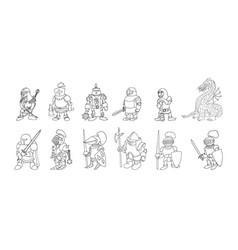 Coloring page set cartoon medieval knights vector