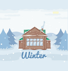 country cottage in winter wooden house in forest vector image
