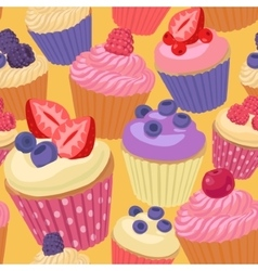 Cupcakes with berries seamless pattern vector