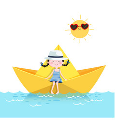 Cute girl relaxing in a paper boat summer vector