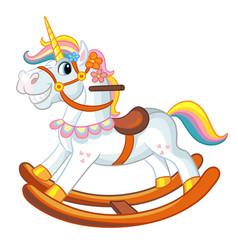 Cute riding rocking horse cartoon vector