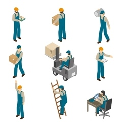 Delivery Man Isometric Icons Set vector