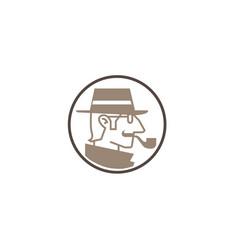 Detective head sheriff logo vector