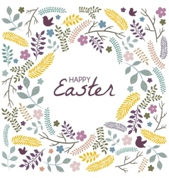Easter greeting card with frame from floral vector