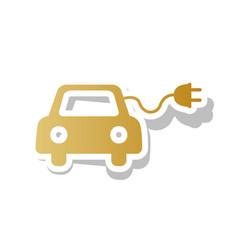 Eco electric car sign golden gradient vector