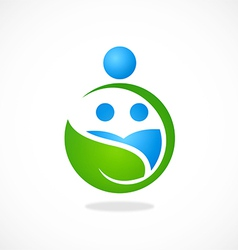 Eco nature family earth logo vector