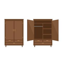 Empty wood wardrobe vector