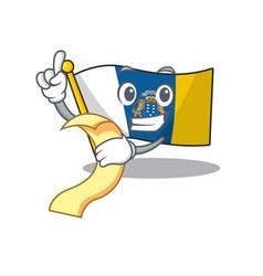 Flag canary island scroll cartoon character vector