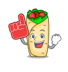 foam finger burrito mascot cartoon style vector image