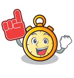 Foam finger chronometer character cartoon style vector