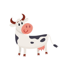 Funny black white spotted cow standing and looking vector
