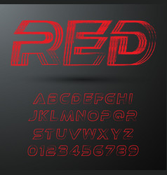 futuristic font template letters and numbers red vector image