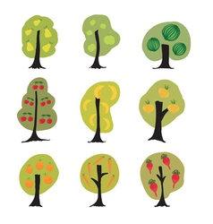 Garden fantasy trees set vector image