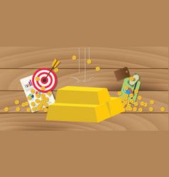 gold invest investment with gold bar stack with vector image