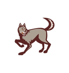 Gray Wolf Side View Retro vector image