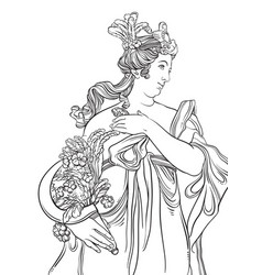 Greek goddess in line style great template for vector