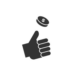 hand throwing up coin icon on white background vector image