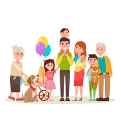happy extended family photo cartoon vector image