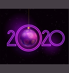 happy new year 2020 purple neon style background vector image