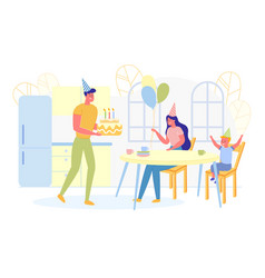 happy parents giving birthday cake to son flat vector image