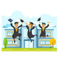happy student jumping in graduation ceremony vector image