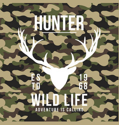 Hunting style t-shirt design with deer antlers on vector