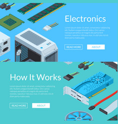 isometric electronic devices horizontal web vector image