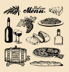 italian cuisine menu hand sketched traditional vector image