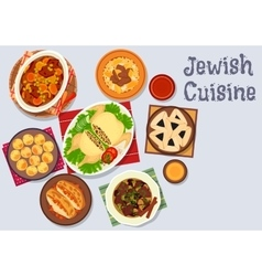 Jewish cuisine kosher dinner icon for menu design vector