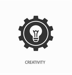 Lamp bulb with gear icon for graphic and vector